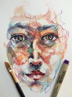 Pen and ink art watercolor face, watercolor portraits, scribble art, ap art Art Inspiration Drawing, Sketchbook Inspiration, Art Sketchbook, Art Inspo, Watercolor Portraits, Watercolor Art, Art Sketches, Art Drawings, A Level Art