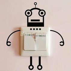 Fashion Robot Switch Sticker Living Room Wall Poster