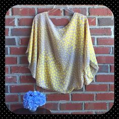 Sheer Blouse Paisley and Ivy Size M Sheer blouse yellow and grey in great condition has belt loops Paisley and Ivy Tops Blouses