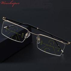 ec519ee86ce WEARKAPER Half Frame Eyewear Photochromic Progressive Multifocal Reading  Glasses Men Women Presbyopia Hyperopia Multifocal