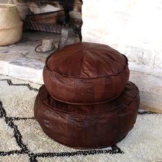Leather Pouffe – Duo – Chocolate Brown – Maison & Maison
