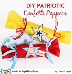 DIY Patriotic Confetti Poppers by designer Candice Meyer featuring the Flags and Stars digital kit from Jenni Bowlin, available at #snapclicksupply. #JenniBowlin #digitalscrapbooking