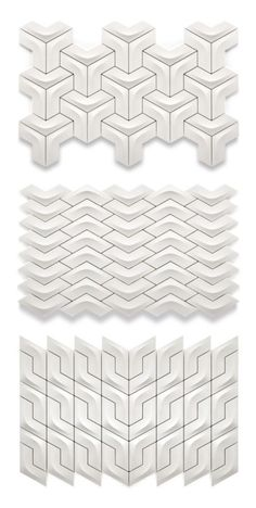 Award-Winning Ceramic Tiles from Kütahya Seramik Arc tiles. I've pinned these before, but this link goes to actual design info on the tiles rather than just a picture. Tile Patterns, Textures Patterns, Fun Patterns, Tile Design, Pattern Design, 3d Pattern, Quilt Pattern, Fond Design, Module Design