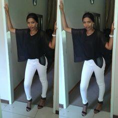 Black&AWhite My Wardrobe, White Jeans, Style Me, Pants, Black, Fashion, Trouser Pants, Moda, Black People