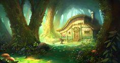 Hunter's Cabin, OKU . on ArtStation at https://www.artstation.com/artwork/BdmA