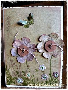 Use Tim Holtz Grunge flower die Butterfly Cards, Flower Cards, Paper Flowers, Handmade Birthday Cards, Greeting Cards Handmade, Card Birthday, Birthday Ideas, Origami, Button Cards