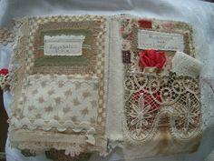 by theenglishromantic on Etsy Fabric Books, Fabric Journals, Fabric Art, Art Journals, Lace Art, Book Journal, Keepsakes, Textile Art, Altered Art