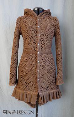 CROCHET LACE JACKET cardigan fleece crochet gypsy by SINDdesign ---- teuer aber toll - gehäkelte Gipsy - Jacke