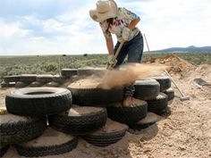 How to pound a tire (Earthship)