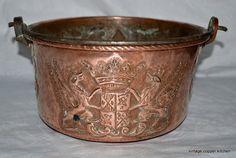 Rare French copper antique pan Château à Versailles, France 1731 royal