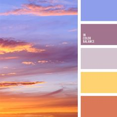 This palette is full of sufficiently bright and vivid colors - yellow sunflowers, blue sky, and the color of lilacs. This combination is perfect for bedroo. Orange Color Palettes, Colour Pallette, Colour Schemes, Color Combos, Color Patterns, Sunset Color Palette, Pantone, Sunflower Colors, Sunrise Colors