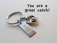 Baseball Mitt Keychain Couples Keychain, hand stamped with couples initials, anniversary gift, or just because gift, baseball fan, for him, for boyfriend