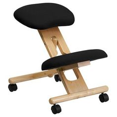 Mobile Wooden Ergonomic Kneeling Chair in Black Fabric - Belnick