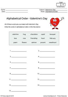 PrimaryLeap.co.uk - Alphabetical order - Valentine's Day Worksheet