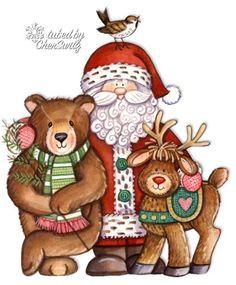 Santa and Friends Clip Art