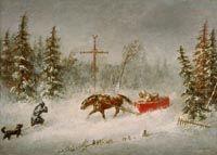 « Le blizzard », Cornelius Krieghoff, 1857, Musée des beaux-arts du Canada