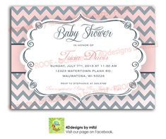 Chevron Pink and Grey Baby Shower Invitation by 4DdesignsbyMitzi, $18.00