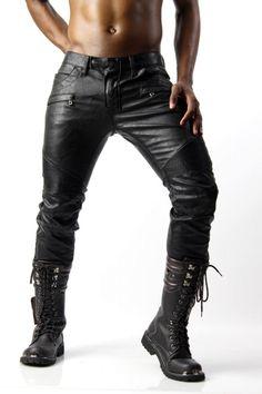 Designer Black Faux Leather Jeans