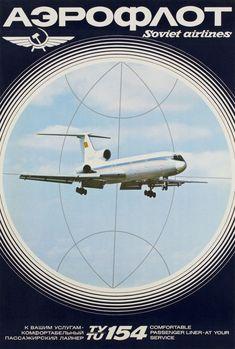 1971 Aeroflot, Soviet Airlines TY-TU154, vintage travel poster