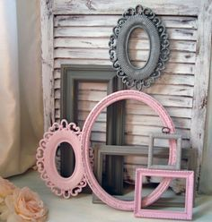 Pink and Gray Vintage Frame and Mirror Set by WillowsEndCottage