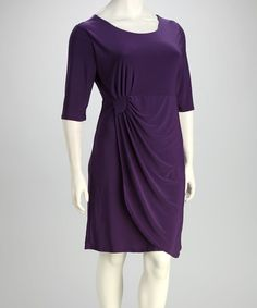 Take a look at this Purple Plus-Size Half-Sleeve Drape Dress by Star Vixen on #zulily today!