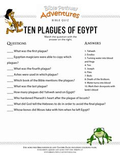 Enjoy our free Bible Quiz: Ten Plagues of Egypt. Moses and the Exodus. Fun for kids to print and test their knowledge. Feel free to share with others, too! Bible Activities For Kids, Bible Stories For Kids, Sunday School Activities, Bible Study For Kids, Sunday School Lessons, Sabbath Activities, School Songs, Kids Bible, Scripture Study