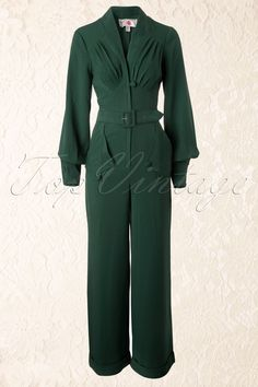 Miss Candyfloss - TopVintage exclusive ~ 40s Pearl Playsuit in Green