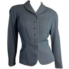 Blue Grey Wool Nipped Waist Suit Jacket circa 1940s