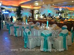 Not a big fan of the feathers, but love the blue bow color for the chairs Sweet 16 Decorations, Reception Decorations, Event Decor, Feather Centerpieces, Party Centerpieces, Centrepieces, Wedding Reception, Our Wedding, Dream Wedding