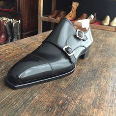 RTW line, Black french calf for a double monk strap, last Perfetta.