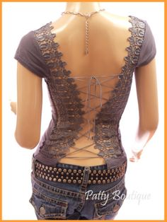 Patty's Boutique: Corset Embroidered Cap Sleeve Top