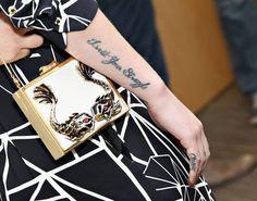 Iggy Azalea Photos - Recording artist Iggy Azalea (purse/ tattoo detail) visits The 'Elvis Duran Morning Show' at Studio on April 2014 in New York City. - Iggy Azalea Visits a Radio Morning Show Iggy Azalea Tattoos, Black And White Fabric, Black White, Morning Show, Future Tattoos, Get A Tattoo, Printing On Fabric, Tatoos, Body Art