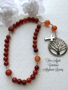 Anglican Rosary Gemstone Prayer Beads, Protestant Prayer Beads, Episcopal Rosary, Fire Agate Rosary Beads, Elegant Rosary Beads by FaithExpressions on Etsy
