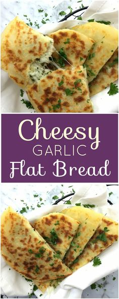 Cheesy garlic flatbread with herbs - super quick and simple flatbread stuffed with cheese, garlic and herbs with no yeast. This quick easy flatbread recipe will have you eating homemade bread in no time!   chefnotrequired.com #flatbread #stuffedwithcheese #cheesybread #garlicbread #easyrecipe #recipes