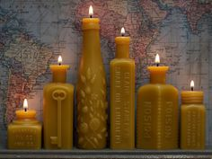 Beeswax Candle Collection - Six Stars, Glowing Bright - Pollen Arts Bottle-Shaped Candles. $100.00, via Etsy.