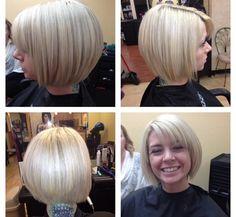 Platinum Blonde Bob wide Side Bangs and Long Layering