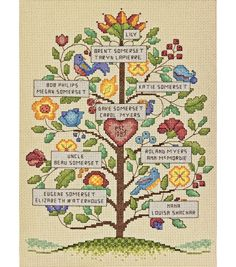 DIMENSIONS and mdash;Counted Cross Stitch Kit. Family records are a timeless treasure and with this kit you can create a beautiful wall hanging that celebrates your family history. This kit contains 1