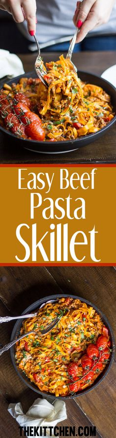 This Easy Beef Pasta Skillet is one of those meals you make on a quiet Sunday night with a glass of wine in your hand. It is a simple recipe for a flavorful beefy creamy pasta with tomatoes and mushrooms. #beef #pasta ***** Beef recipes | Beef skillet recipes | Beef pasta recipes | Beef pasta dishes | Dinner recipes | Easy dinner recipes | Dinner ideas | Pasta recipes | Pasta dishes | Pasta with beef