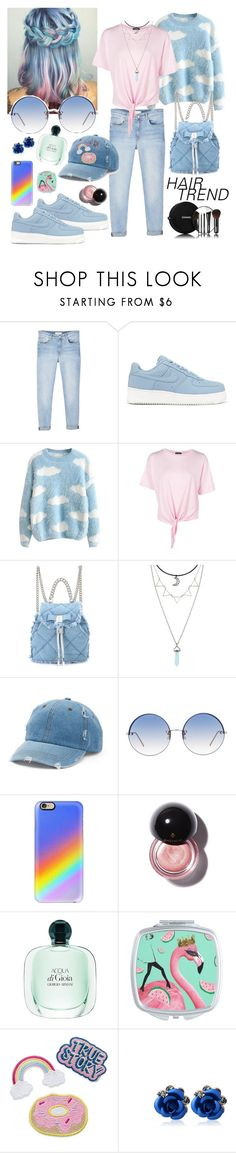 """""""Blue"""" by naomicunsolo ❤ liked on Polyvore featuring beauty, MANGO, NIKE, Boohoo, Salvatore Ferragamo, Mudd, Linda Farrow, Casetify, Chanel and hairtrend"""