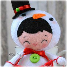 Felt Christmas Ornament Pattern Snowman pattern PDF por HelloFelt