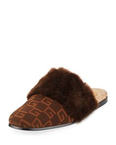 2771be2ca9 GUCCI Faux-Fur Trimmed And Logo-Print Suede Slippers, Brown/ Sigaro