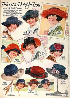 A wonderful array of early 1920s chapeaus. #hats #vintage #1920s #twenties…