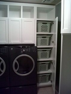 Like the built ins with baskets to put folded clothes in to be carried to bedrooms