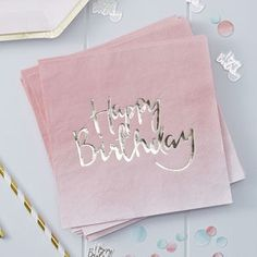 Pink Ombre And Gold Foiled Happy Birthday Paper Napkins - adults birthday