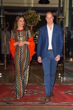 William and Kate leave their hotel to attend a dinner with the King and Queen of…