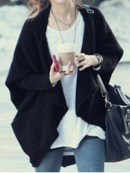 Stylish Batwing Sleeves Solid Color Asymmetric Cardigan For Women