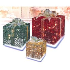Found it at Wayfair - 3 Piece Glittering Gift Box Lighted Christmas Yard Art Decoration Set