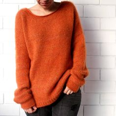 Mohair sweater Knitted pullover Orange sweater Gold sweater