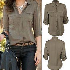Moda Mulheres Botão De Camisa, Manga Longa Casual Slim camiseta Blusa Tops Novo