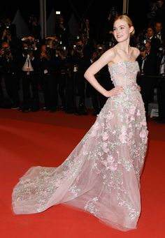 The 2016 Cannes Red Carpet's Best-Dressed Celebrities: Elle Fanning in Zuhair Murad Spring 2016 Haute Couture with #Tiffany jewels attends 'The Neon Demon' Premeire at 2016 Cannes Film Festival #Cannes2016